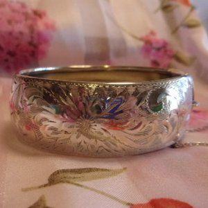 Sterling Silver Floral Hinged Bangle Bracelet